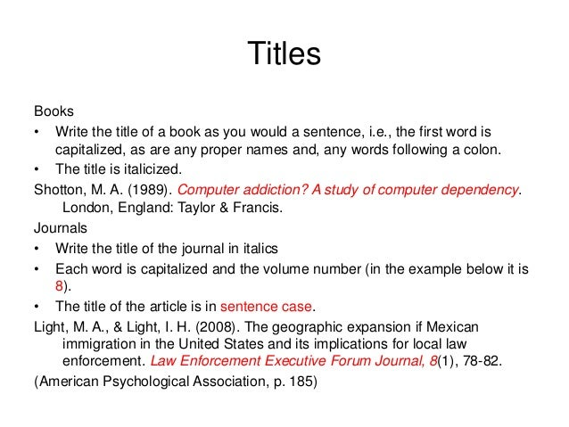 How to reference a book title in a paper apa