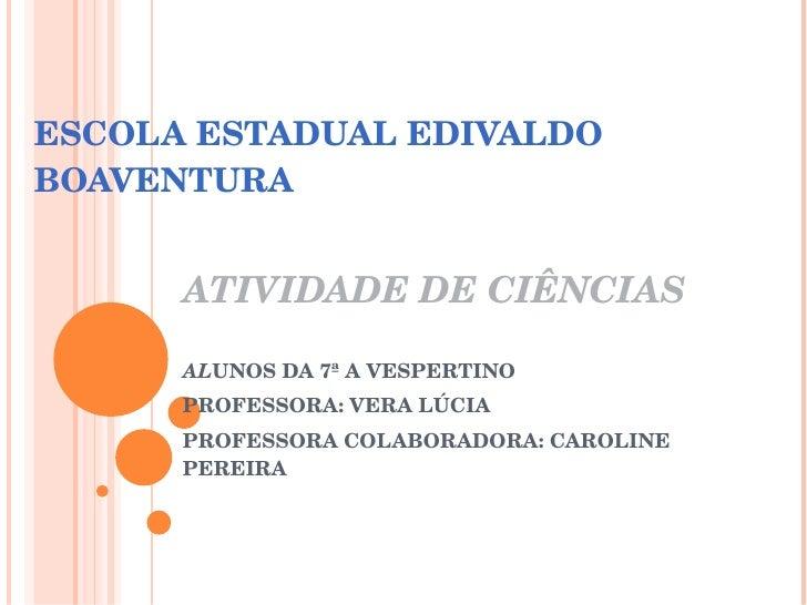 ESCOLA ESTADUAL EDIVALDO BOAVENTURA ATIVIDADE DE CIÊNCIAS AL UNOS DA 7ª A VESPERTINO PROFESSORA: VERA LÚCIA PROFESSORA COL...