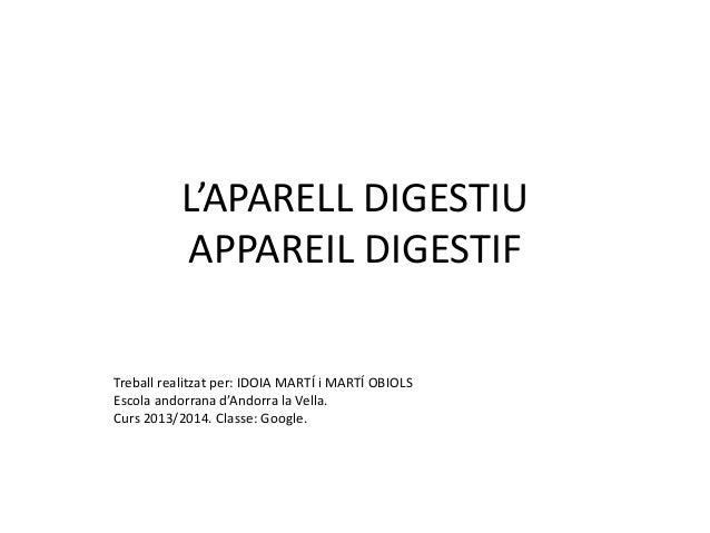 L'APARELL DIGESTIU APPAREIL DIGESTIF Treball realitzat per: IDOIA MARTÍ i MARTÍ OBIOLS Escola andorrana d'Andorra la Vella...