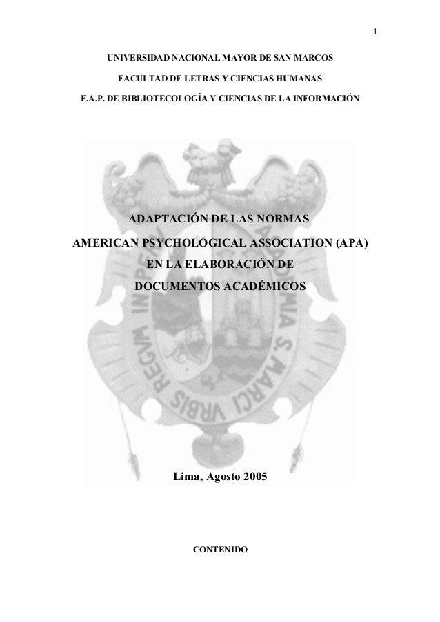 1      UNIVERSIDAD NACIONAL MAYOR DE SAN MARCOS        FACULTAD DE LETRAS Y CIENCIAS HUMANAS E.A.P. DE BIBLIOTECOLOGÍA Y C...