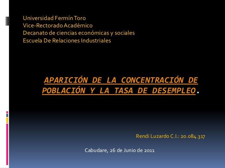 Universidad Fermín Toro<br />Vice-Rectorado Académico<br />Decanato de ciencias económicas y sociales<br />Escuela De Rela...