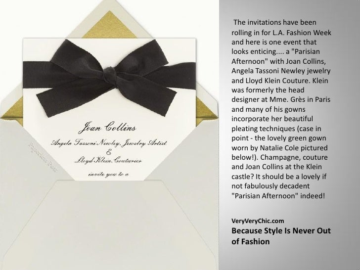 """The invitations have been rolling in for L.A. Fashion Week and here is one event that looks enticing.... a """"Parisian After..."""