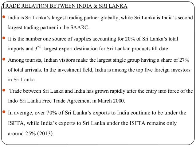 Trade Relations Between India And Srilanka