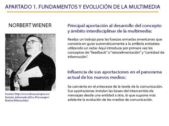 APARTADO 1. FUN DAMENTOSY EVOLUCIÓN DE LA MULTIMEDIA  NORBERTWIENER     Fuente:  httpJ/ wwwdma. eui. upm. es/  historia_in...