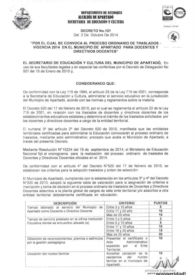 DEPAIETAMENTO DE 10011111 MCMHIÀ DE APABTMM SECRETARIA DE EDUCACION Y CULTURA     DECRETO No.121 Del 2 De Octubre De 2014 ...