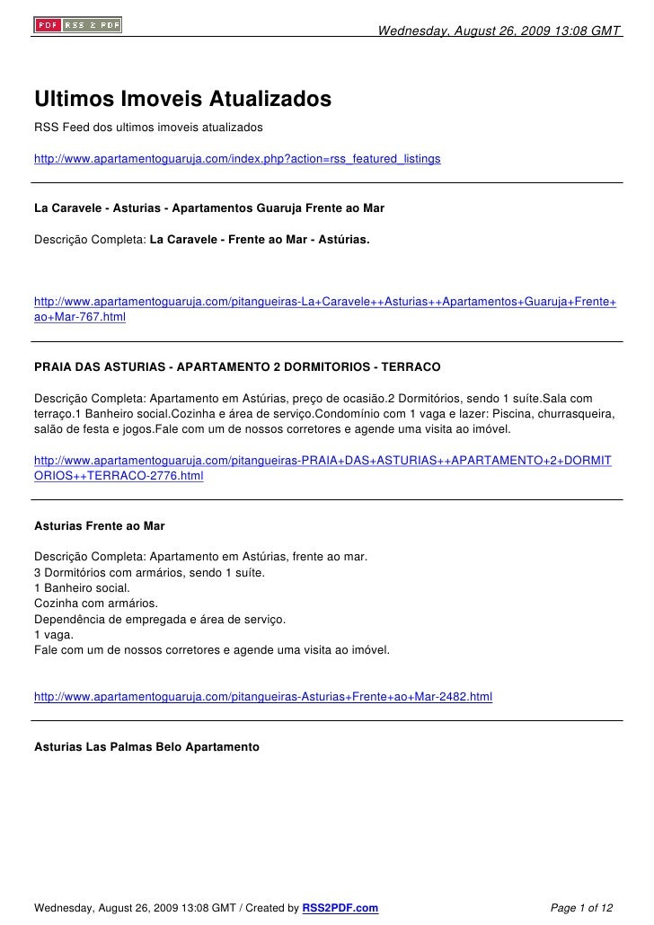 Wednesday, August 26, 2009 13:08 GMT     Ultimos Imoveis Atualizados RSS Feed dos ultimos imoveis atualizados  http://www....