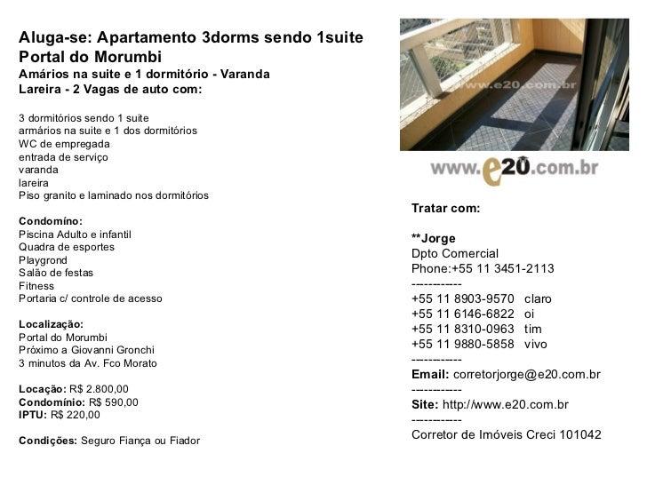 Aluga-se: Apartamento 3dorms sendo 1suite  Portal do Morumbi Amários na suite e 1 dormitório - Varanda  Lareira - 2 Vagas ...