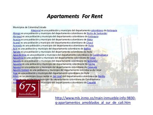 Apartaments For RentMunicipios de Colombia/Listado                 Abejorral es una población y municipio del departamento...