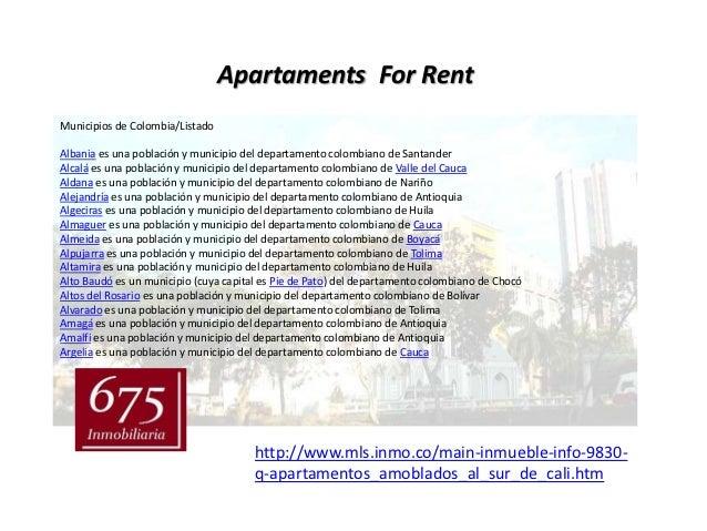 Apartaments For RentMunicipios de Colombia/ListadoAlbania es una población y municipio del departamento colombiano de Sant...