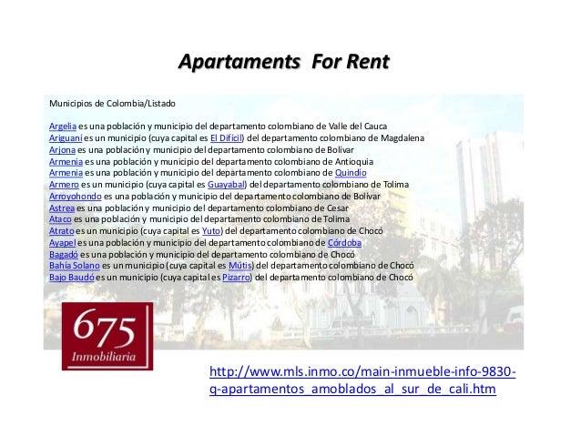 Apartaments For RentMunicipios de Colombia/ListadoArgelia es una población y municipio del departamento colombiano de Vall...