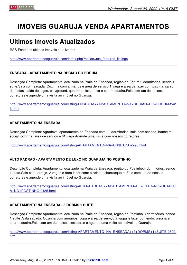 Wednesday, August 26, 2009 12:18 GMT          IMOVEIS GUARUJA VENDA APARTAMENTOS  Ultimos Imoveis Atualizados RSS Feed dos...
