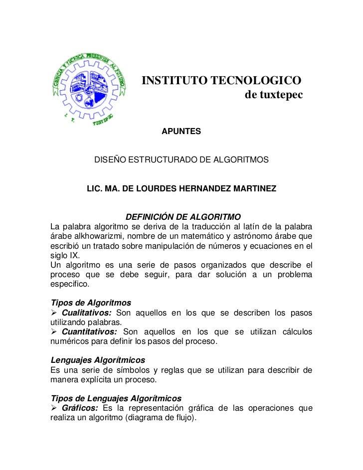 INSTITUTO TECNOLOGICO                                       de tuxtepec                                APUNTES            ...