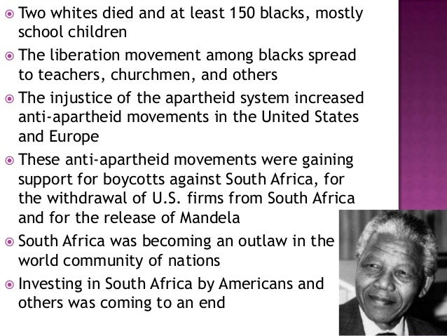 the apartheid system the collapse and The end of apartheid apartheid, the afrikaans name given by the white-ruled south africa's nationalist party in 1948 to the country's harsh, institutionalized system of racial segregation, came to an end in the early 1990s in a series of steps that led to the formation of a democratic government in 1994.