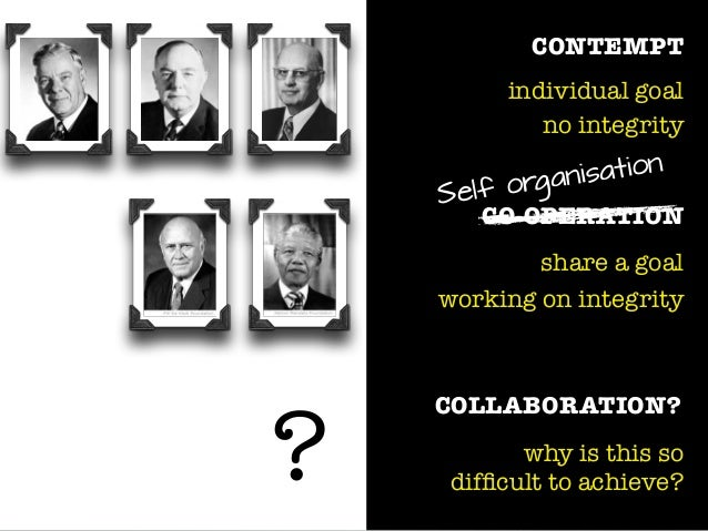 CONTEMPT individual goal no integrity CO-OPERATION share a goal working on integrity COLLABORATION? why is this so difficul...