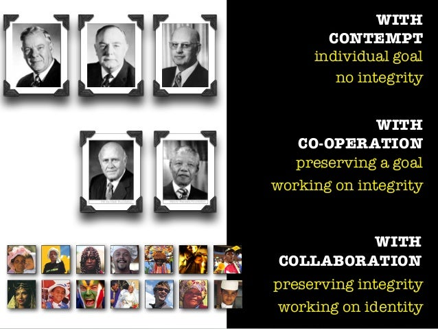 WITH CONTEMPT individual goal no integrity WITH CO-OPERATION preserving a goal working on integrity WITH COLLABORATION pre...