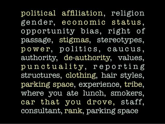 political affiliation, religion ge n d e r, e c o n o m i c s t a t u s , opportunity bias, right of passage, stigmas, ster...