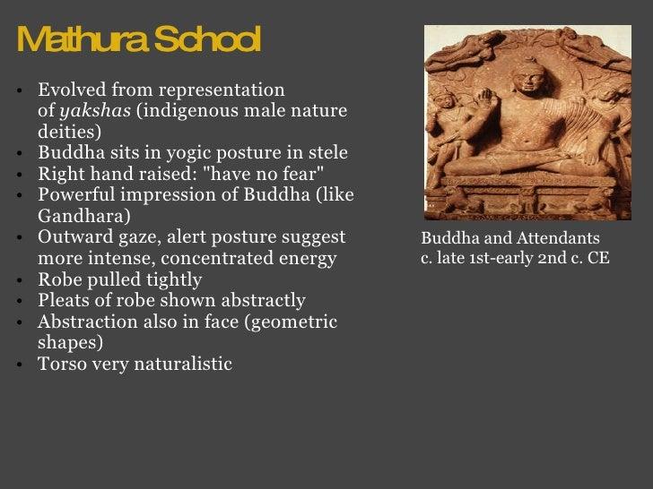 Mathura School <ul><ul><li>Evolved from representation of yakshas  (indigenous male nature deities) </li></ul></ul><ul><u...