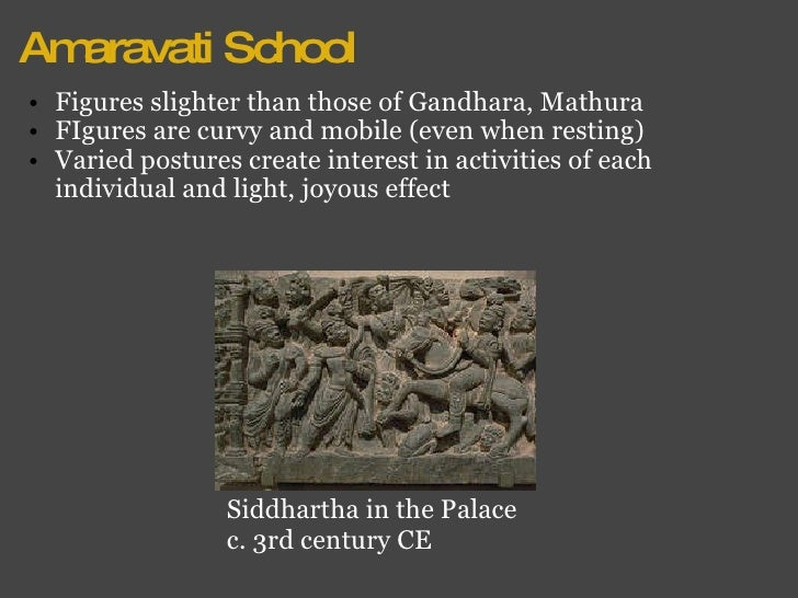 Amaravati School <ul><ul><li>Figures slighter than those of Gandhara, Mathura </li></ul></ul><ul><ul><li>FIgures are curvy...