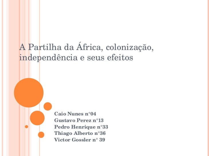 Caio Nunes n°04 Gustavo Perez n°13 Pedro Henrique n°33 Thiago Alberto n°36 Victor Gossler n° 39 A Partilha da África, colo...