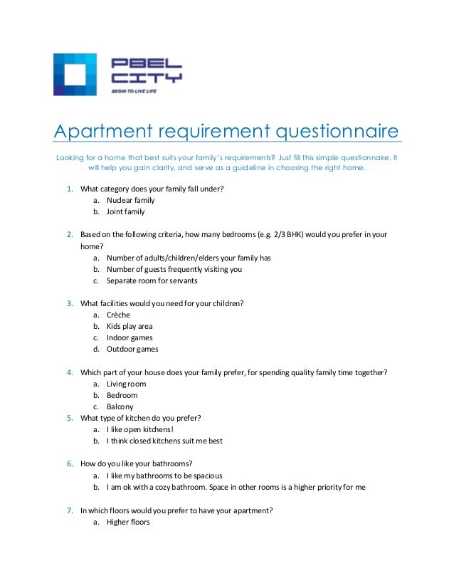 Apartment buyer's questionnaire for easy buying