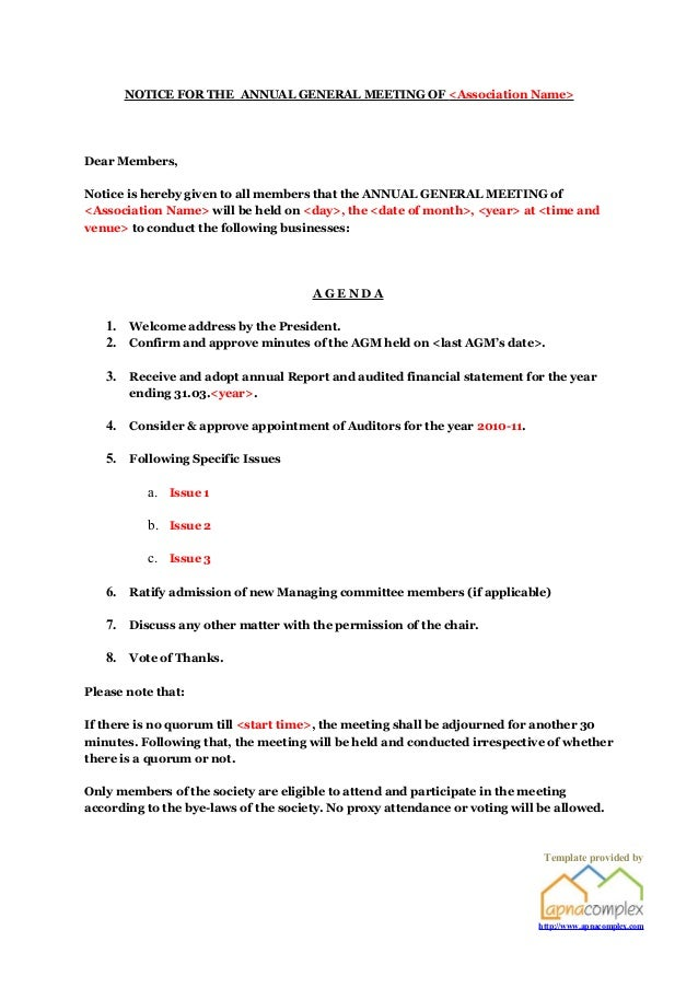 Apartment association agm notice template provided by apnacomplex notice for the annual general meeting of association namedear membersnotice is spiritdancerdesigns