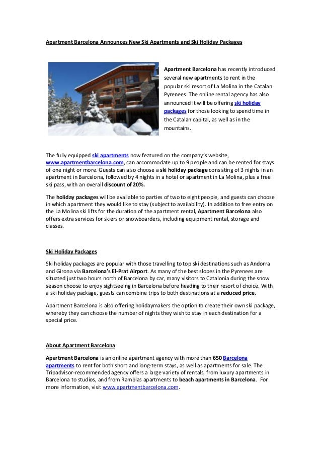 Apartment Barcelona Announces New Ski Apartments and Ski Holiday Packages                                                 ...