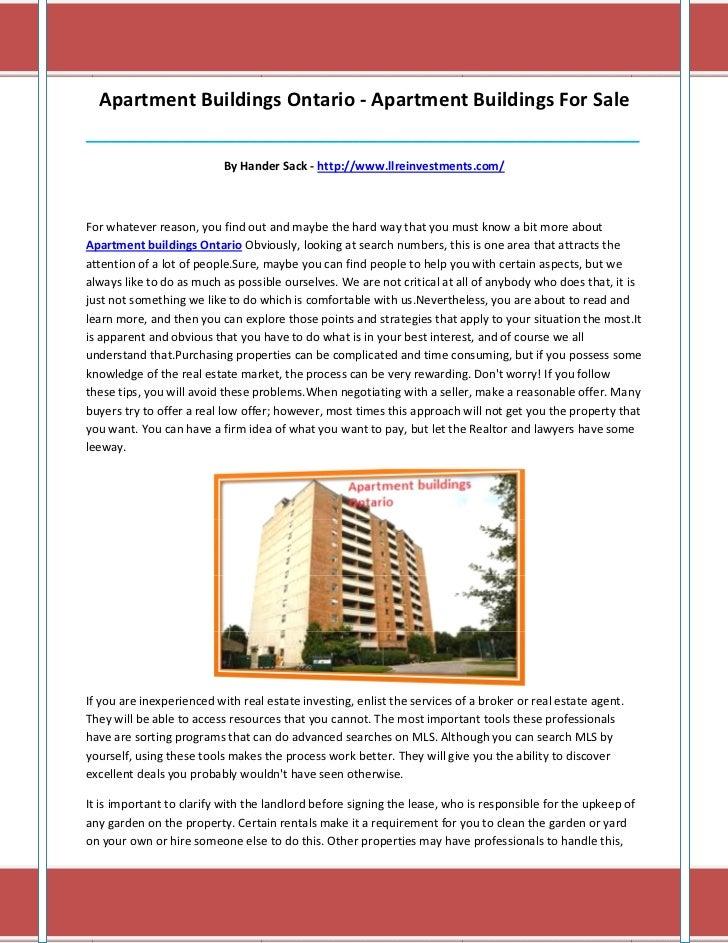 Apartment Buildings Ontario - Apartment Buildings For Sale________________________________________________________________...