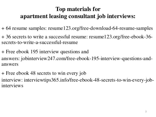 2 3 Top Materials For Apartment Leasing Consultant Job Interviews 64 Resume Samples