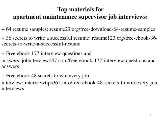 2 3 Top Materials For Apartment Maintenance Supervisor Job Interviews 64 Resume