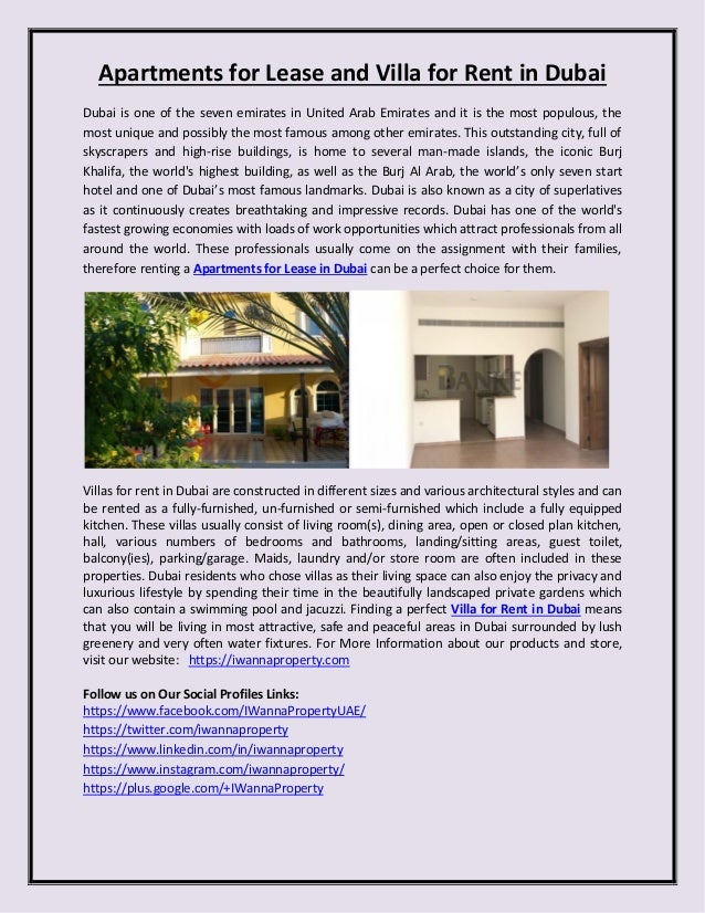 Apartments For Lease And Villa For Rent In Dubai