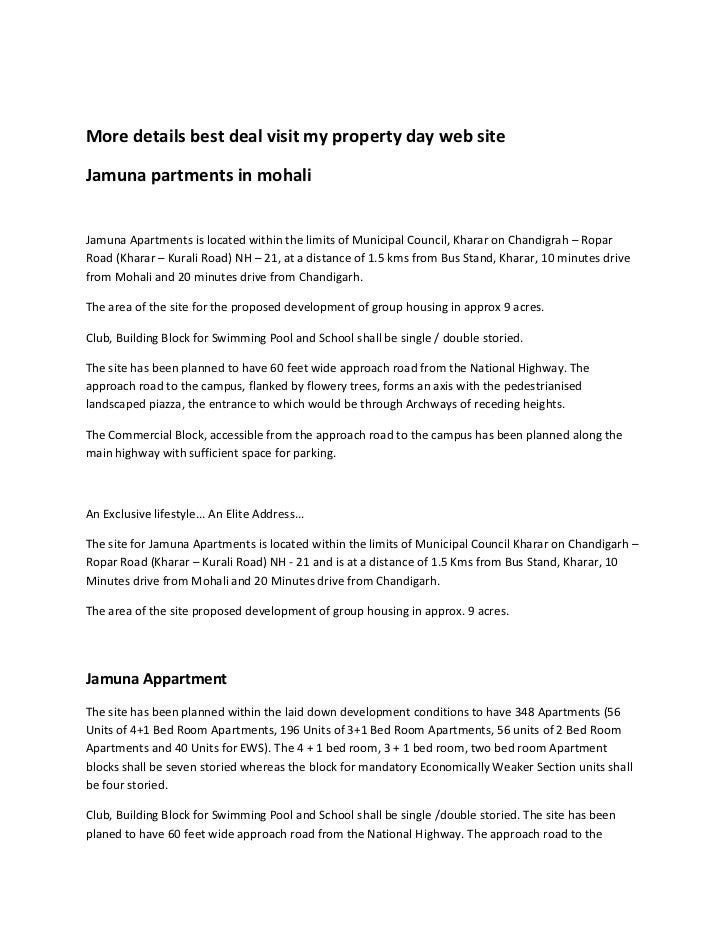 More details best deal visit my property day web site<br />Jamuna partments in mohali<br />Jamuna Apartments is located wi...