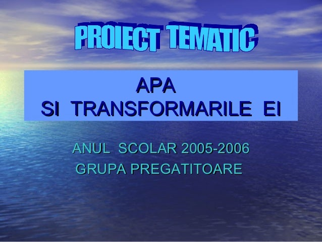 APAAPA SI TRANSFORMARILE EISI TRANSFORMARILE EI ANUL SCOLAR 2005-2006ANUL SCOLAR 2005-2006 GRUPA PREGATITOAREGRUPA PREGATI...