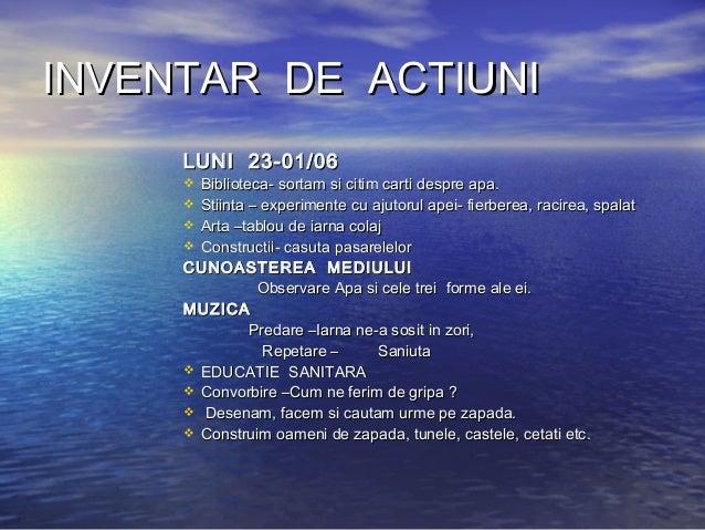 INVENTAR DE ACTIUNIINVENTAR DE ACTIUNI LUNI 23-01/06LUNI 23-01/06  Biblioteca- sortam si citim carti despre apa.Bibliotec...