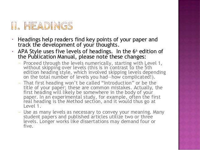 apa style 6th edition headings