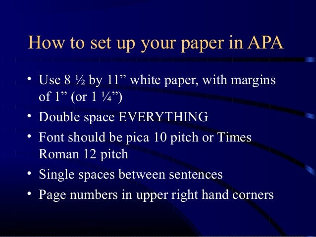 how to set up a paper in apa format