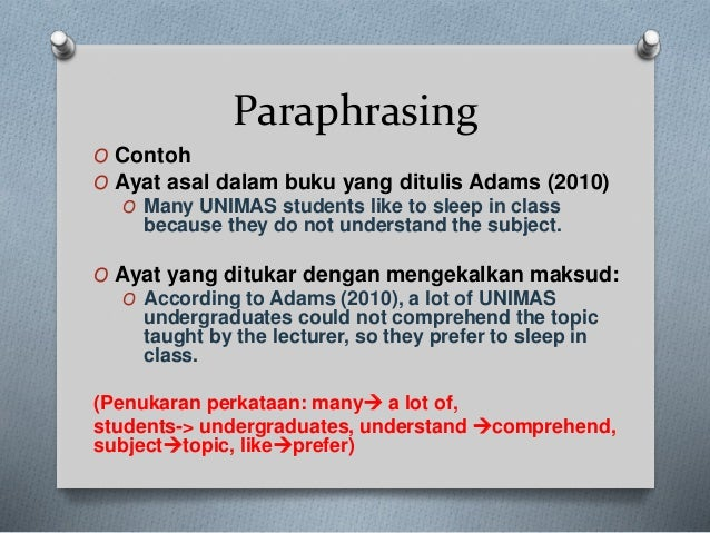 contoh paraphrase