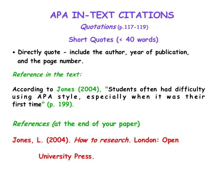 Page citations in essay