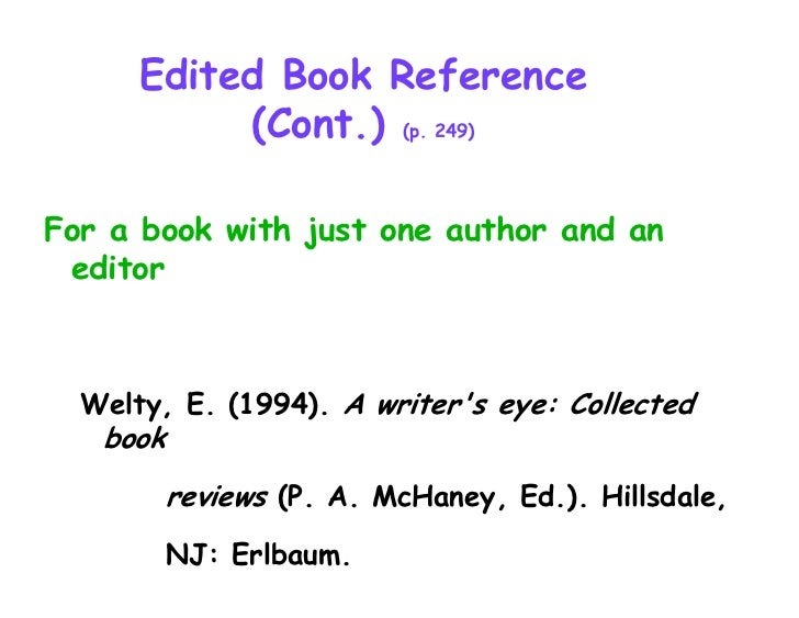 apa citing essay in edited book Provides apa style guidelines on referencing book reviews.
