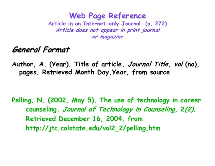 Apa format reference page website