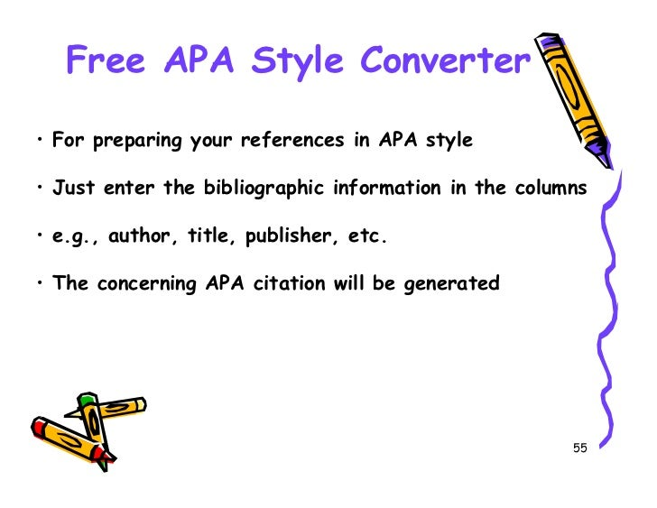 convert to apa style Citefast is a free apa, mla and chicago citation generator generate references, bibliographies, in-text citations and title pages quickly and accurately used by.