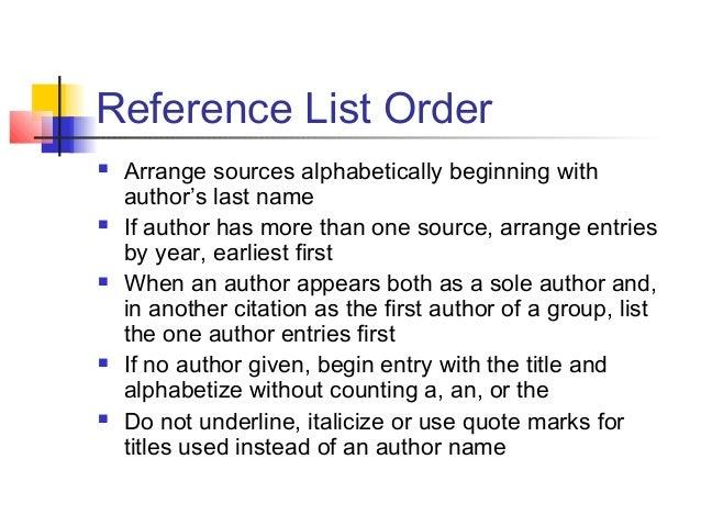 Apa format alphabetical order