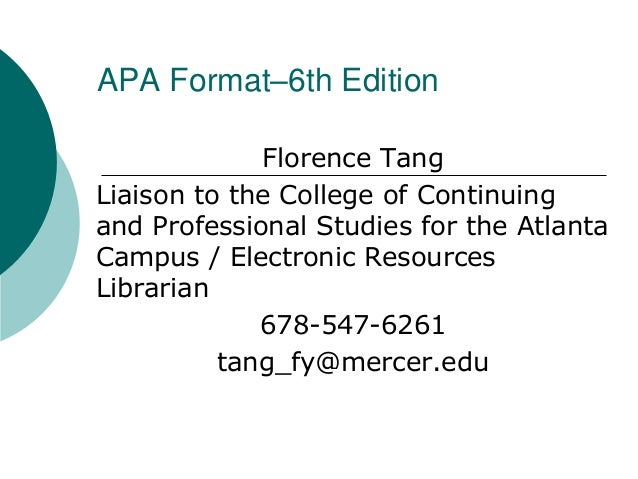 Florence Tang Liaison to the College of Continuing and Professional Studies for the Atlanta Campus / Electronic Resources ...