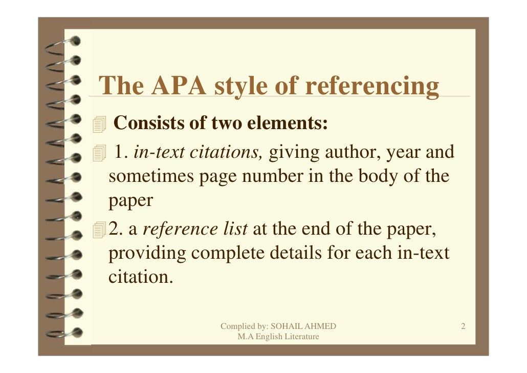 apa referencing guide Note: page numbers in square brackets refer to the apa publication manual  and the electronic guide   referencing/citing sources within your paper.