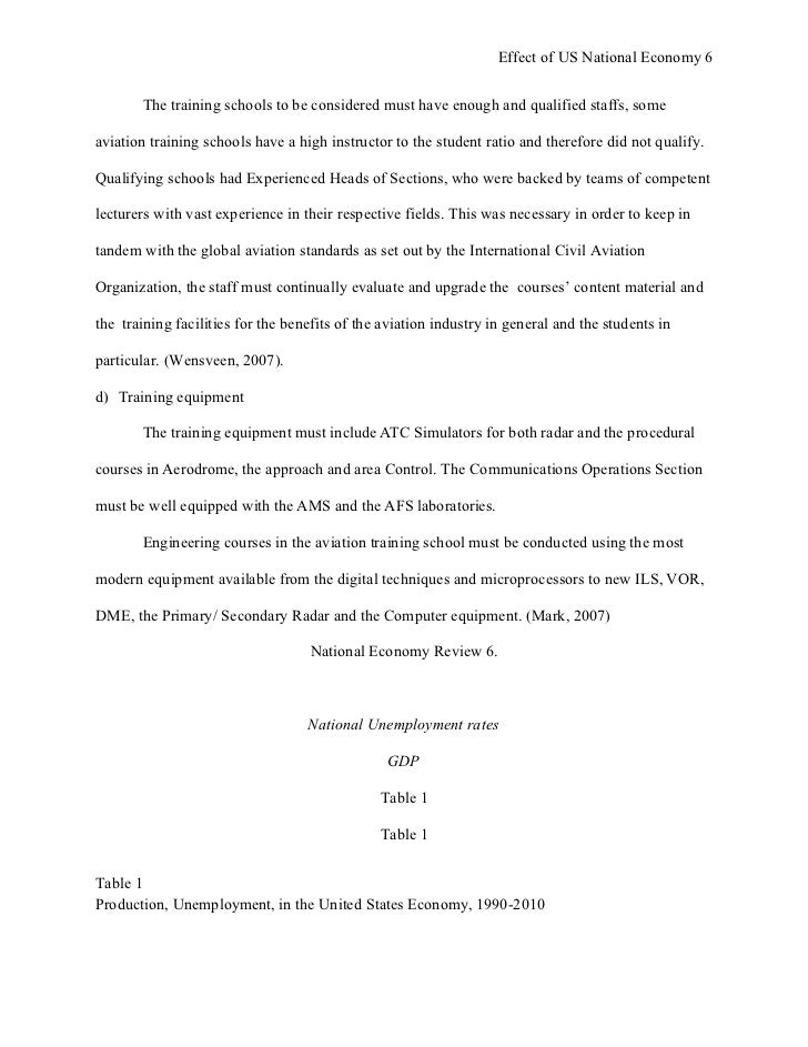 apa style research paper effect of us national economy on us flight 6