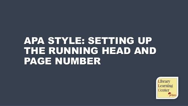 apa style running head