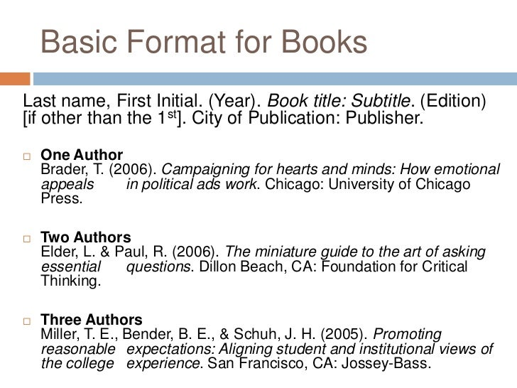 how to write an apa citation for a book
