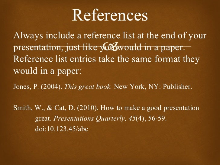 references always include a reference list at the end of