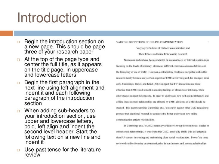 the introduction in a research paper