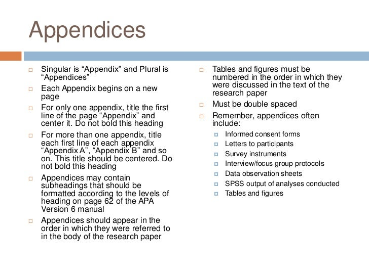 apa order of appendix and references