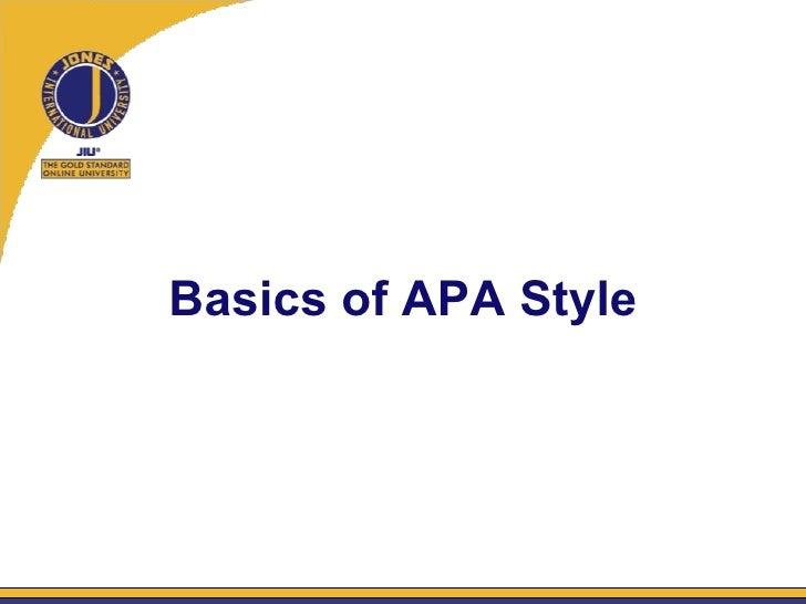 Basics of APA Style